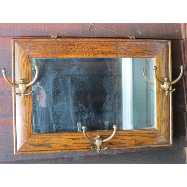 Nautical Antique Hanging Wall Mirror Tiger Oak With Hooks For Sale - Image 3 of 10