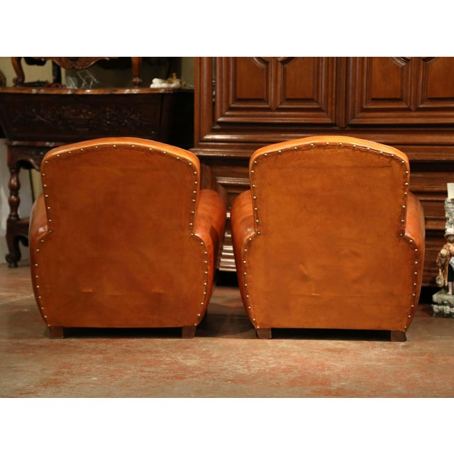 Gold Pair of Early 20th Century French Club Armchairs With Original Brown Leather For Sale - Image 8 of 9