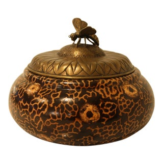 Maitland-Smith Wooden Box with Bee Finial Lid