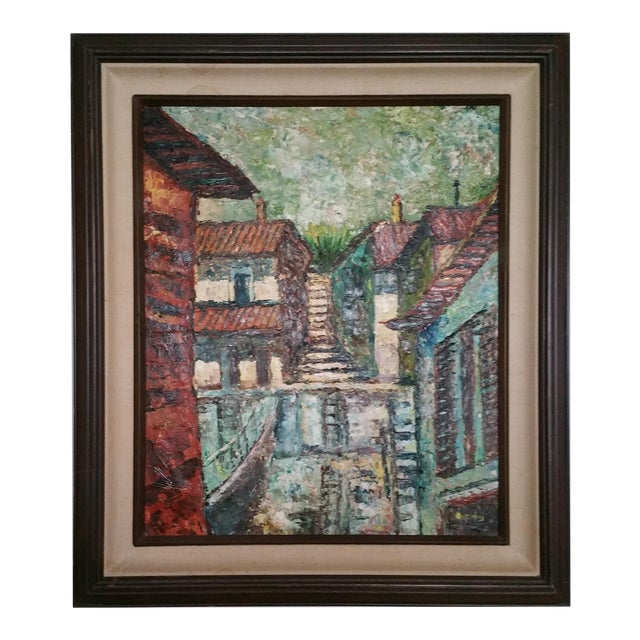 Mid-Century Impressionist Cityscape Oil Painting - Image 1 of 8