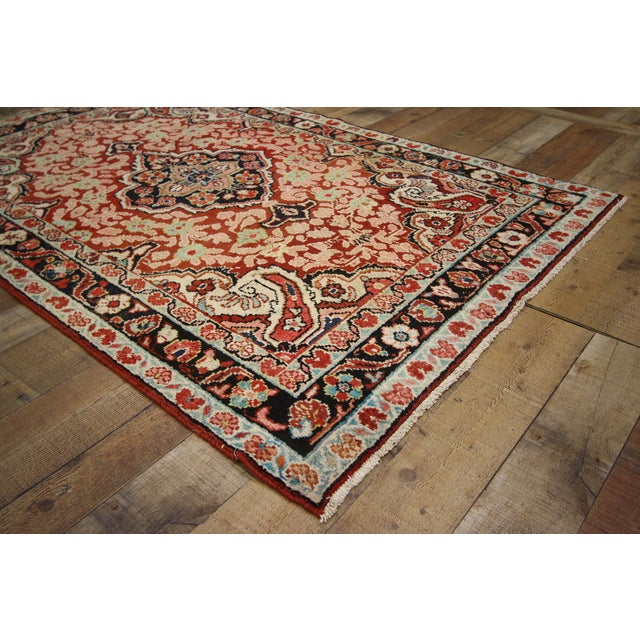 Textile Vintage Persian Mahal Rug - 4'1 x 6'3 For Sale - Image 7 of 8