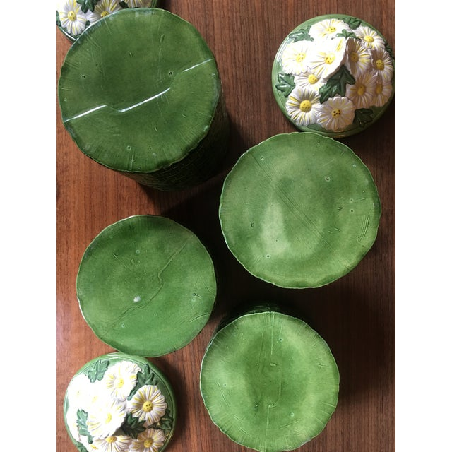 Ceramic 1950s Vintage Green Ceramic Basket Weave Daisy Motif Canisters - Set of 4 For Sale - Image 7 of 10