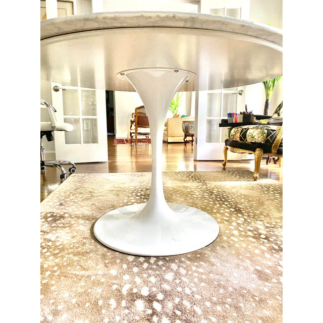 """Carrara Marble 48"""" Round Tulip Table For Sale - Image 4 of 6"""