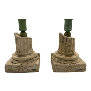 Oggetti Porcelain Roman Ruin Candlesticks by Mangani - a Pair For Sale