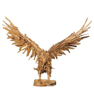 Large Handcrafted Driftwood Eagle Sculpture For Sale