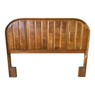 Art Deco Burl Wood Queen Headboard by American of Martinsville For Sale