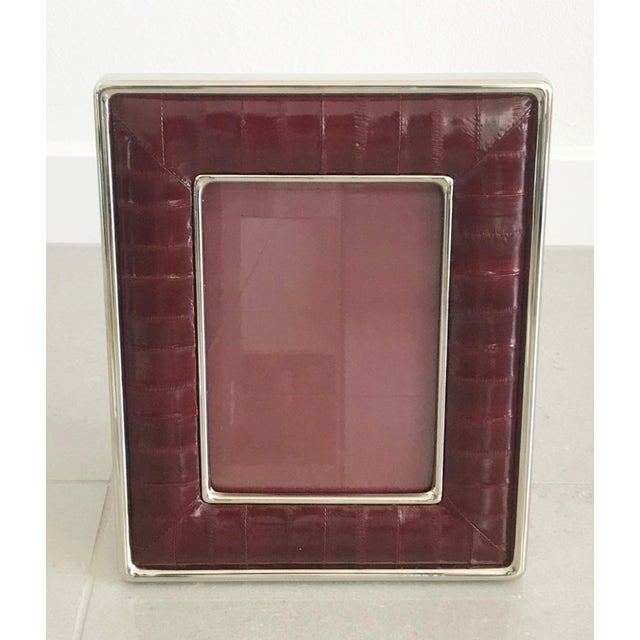 Metal Burgundy Leather Photo Frame by Fabio Ltd For Sale - Image 7 of 7