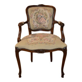 Vintage Italian Carved Bergere Chair with Tapestry Fabric and Figures For Sale