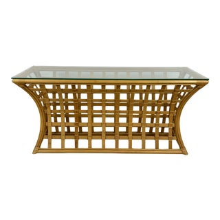 Vintage Rattan and Glass Console Table For Sale