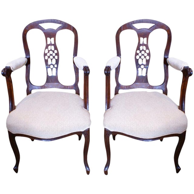 Italian Fruitwood Armchairs - A Pair For Sale