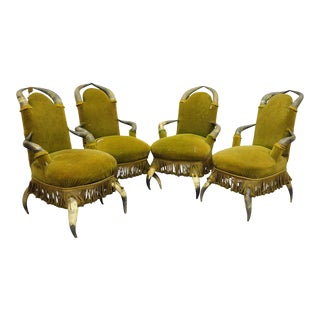 Four Antique Bull Horn Chairs Ca. 1870 For Sale
