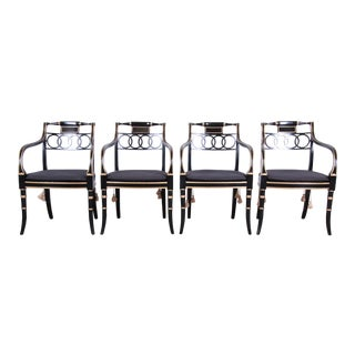 Baker Furniture Ebonized and Gold Gilt Regency Style Armchairs, Set of Four For Sale