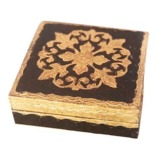 Gold & Black Italian Florentine Hinged Box For Sale
