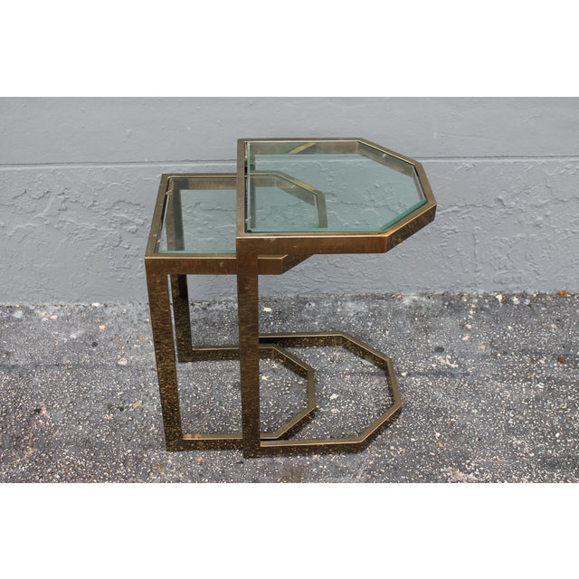 Mid-Century 2 Tier Brass Glass Nesting Tables - A Pair - Image 2 of 11
