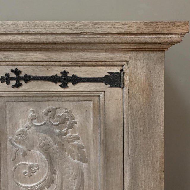 Buffet, Antique Gothic in Whitewashed Oak For Sale - Image 12 of 13