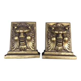 Mythological Gold Finish Bookends - a Pair For Sale