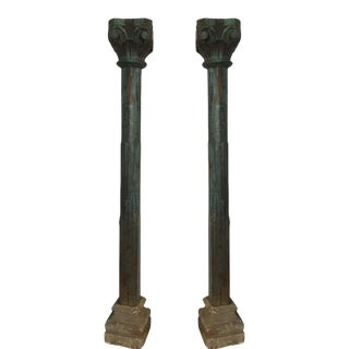 Solid Teak Columns on Stone Bases with Original Paint, Late 19th Century - A Pair For Sale