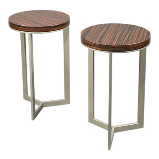 Pair of French Zebra Wood Side Tables For Sale