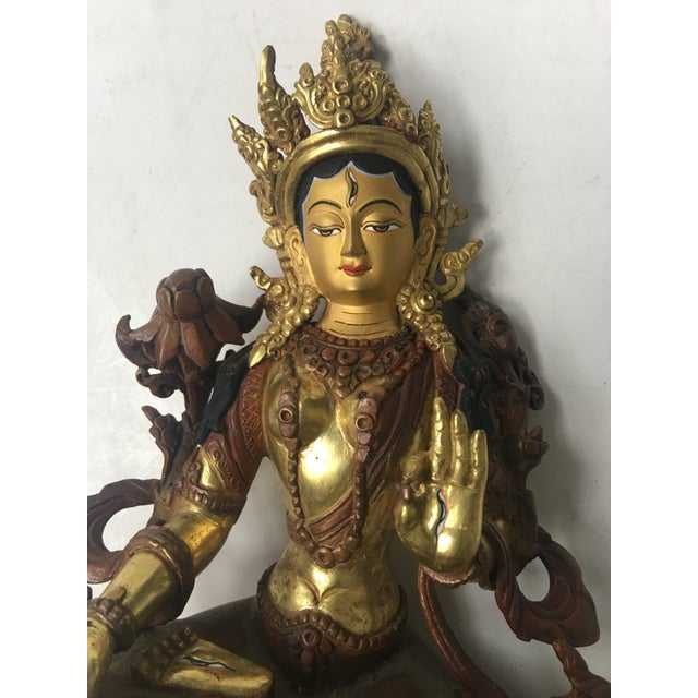 Asian Antique Buddhist Tara Goddess Of Cast Brass For Sale - Image 3 of 11