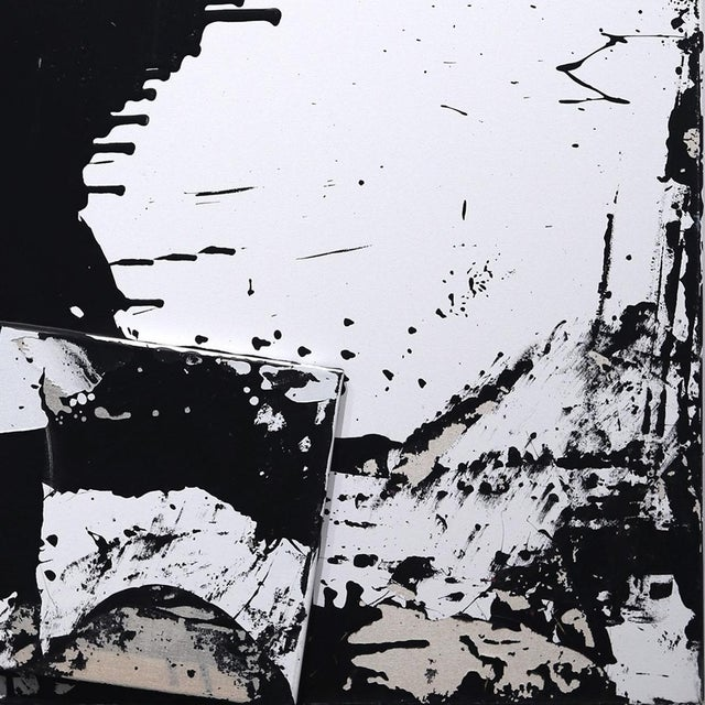 """2010s Original Black and White Textural Painting """"0010"""" by Cole Altuzarra For Sale - Image 5 of 12"""