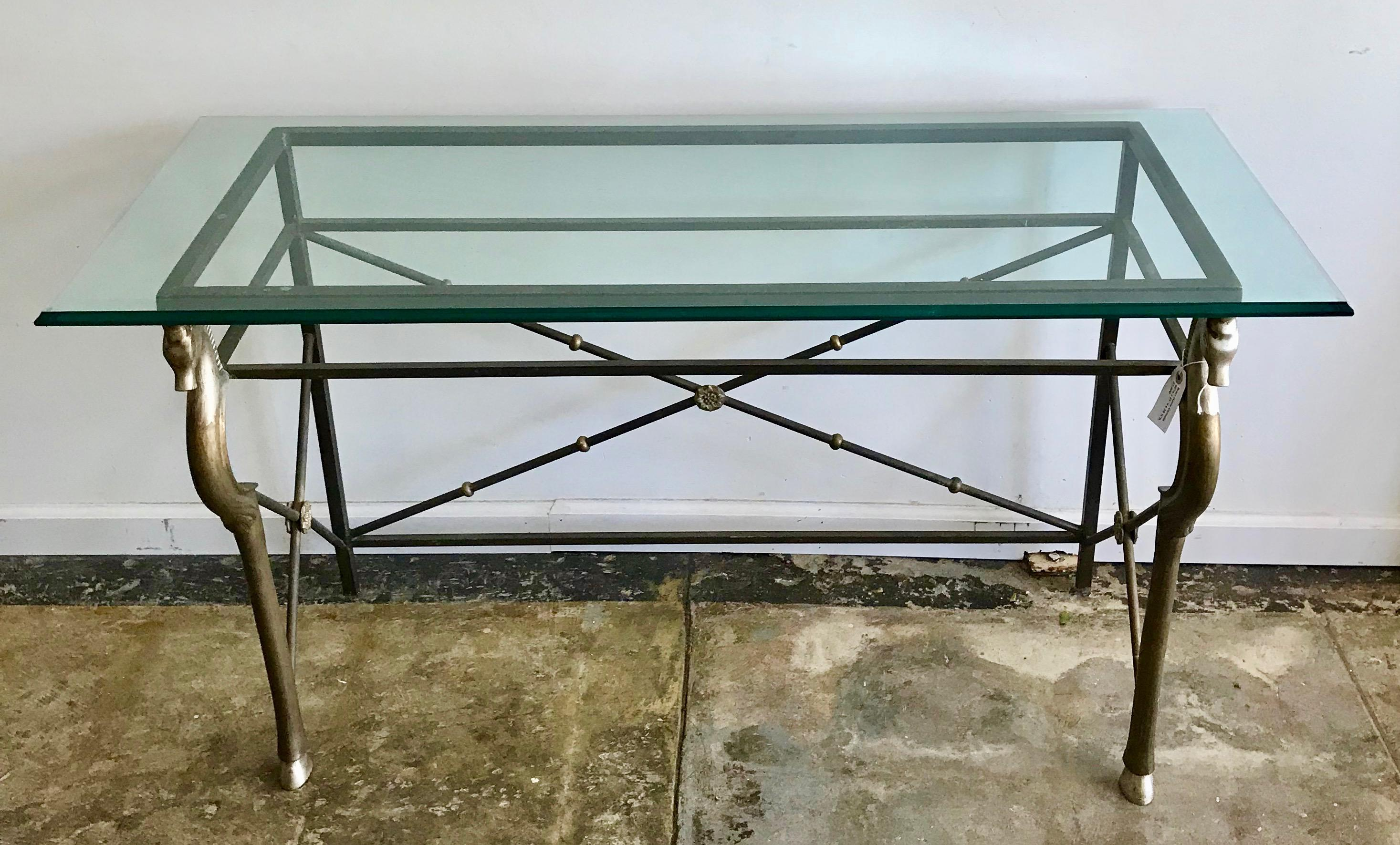 Gold Vintage Glass And Brass Italian Console Table With Seahorse Motif For  Sale   Image 8