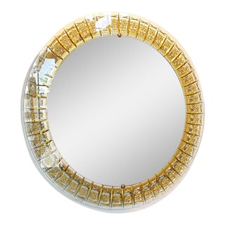 Cristal Arte Round Mid Century Modern Mirror, Glass Gold Carved Frame For Sale