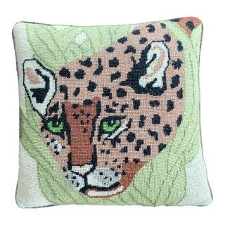 Vintage Mid Century Cheetah Needlepoint Pillow For Sale