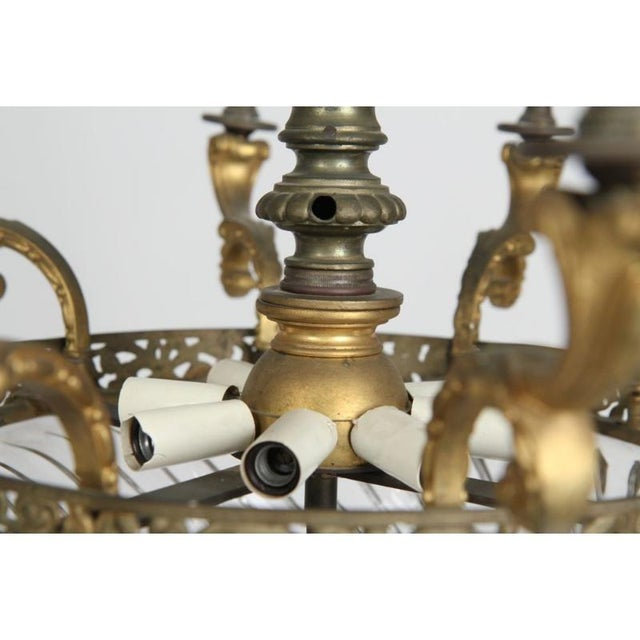 Bronze Louis XV Gilt Bronze & Domed Glass Chandelier For Sale - Image 7 of 11