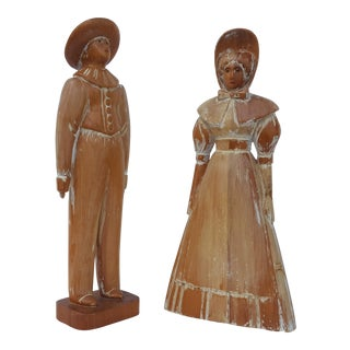 Italy Sarreid Ltd Hand Carved Wood Decorative Statues a Pair For Sale