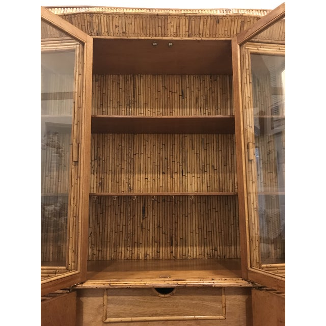 Bamboo Mid-Century Rattan Bamboo Pagoda Breakfront / China Cabinet For Sale - Image 7 of 10