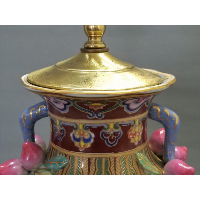 Metal 1960s Vintage Famille Rose Floral Chinese Table Lamp With Peaches For Sale - Image 7 of 12