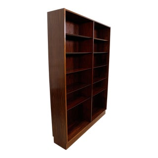 Danish Modern Double Bookcase With Adjustable Shelves in Rosewood For Sale