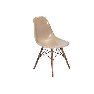 Eames Fiberglass Greige Shell Chairs on Walnut Dowel Base For Sale