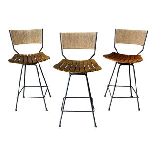 Arthur Umanoff Iron and Slatted Wood Barstools, Circa 1965 For Sale