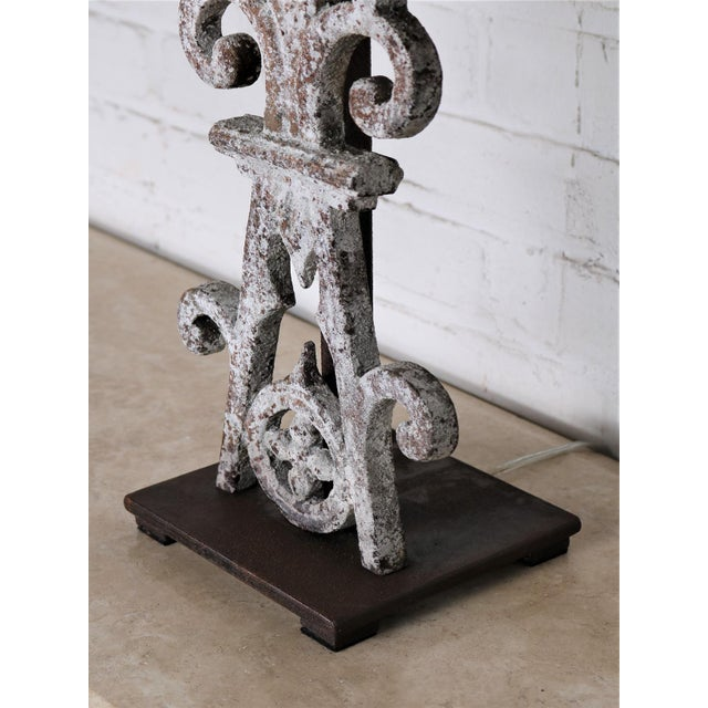 French Country Table Lamp Made From 20th Century British Colonial Iron With Shade For Sale - Image 3 of 5