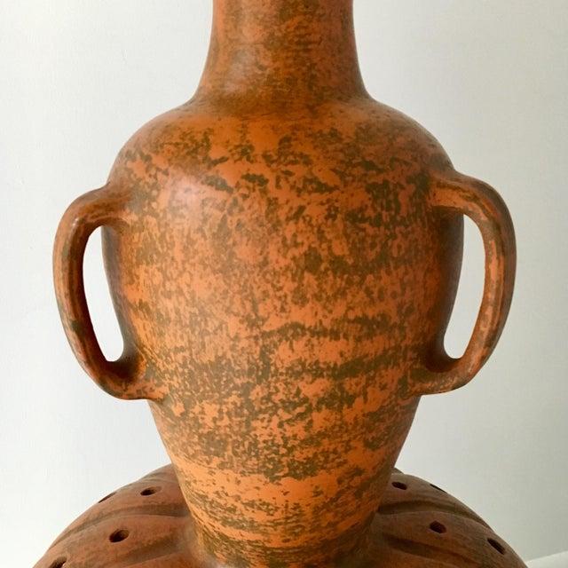 Mediterranean Large Glazed Terracotta Lamp 1960s For Sale - Image 3 of 6