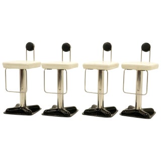 Joe Colombo Birillo Swivel Bar Stools, Set of Four, Fine Original Condition For Sale