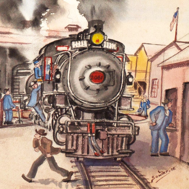 1970s Railway Depot Watercolor Painting - Image 3 of 6