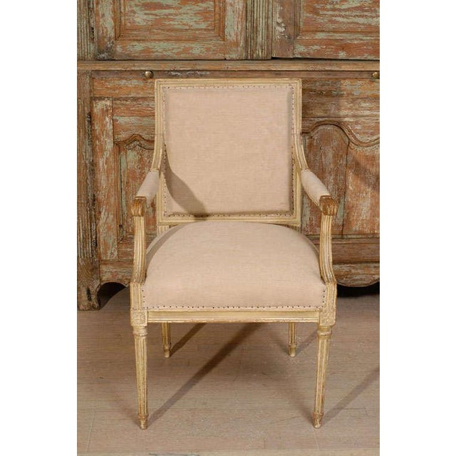 French 18th Century Painted Square Back Louis XVI Fauteuils - a Pair For Sale - Image 3 of 11