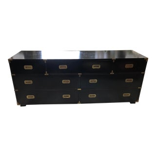 Late 20th Century Black Campaign Style Wide Dresser For Sale