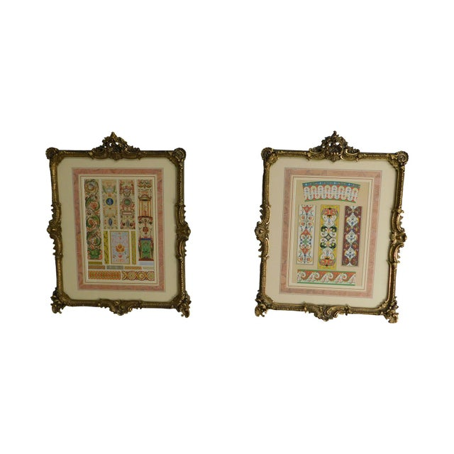 Rococo Gilt Framed Pair of Prints Showing Samples of Decorative Wallpaper Borders For Sale - Image 13 of 13
