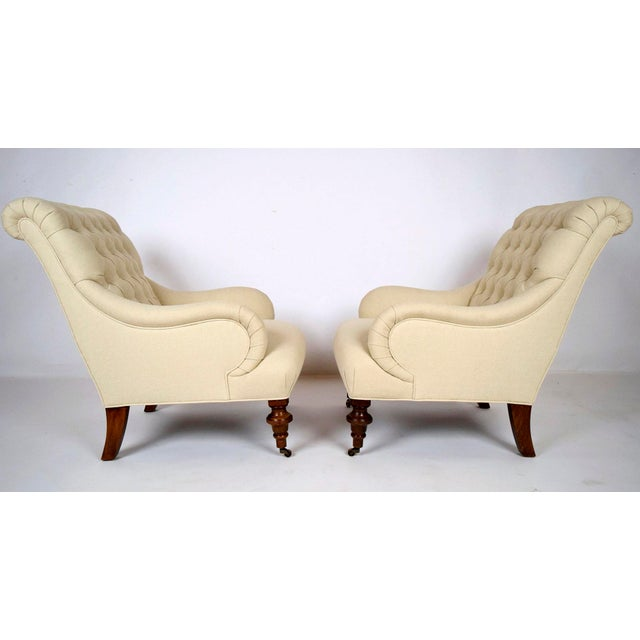 Continental-Style Tufted Bergeres - A Pair - Image 3 of 11