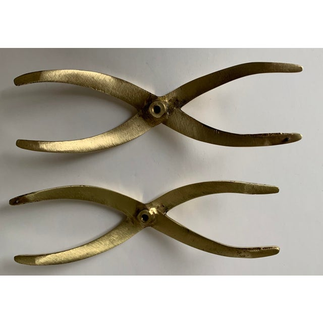 Brass Pair of 1950s Polished Brass X Pulls For Sale - Image 8 of 13