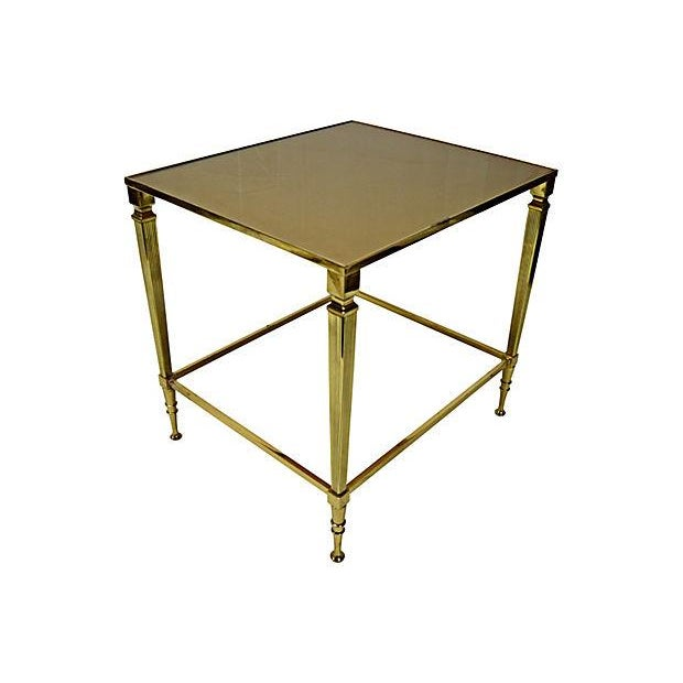 Neoclassical Brass & Glass Auxiliary Side Table - Image 1 of 10