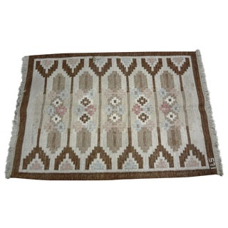 "Swedish Mid-Century Flat Weave Rug - 4'6"" X 7' For Sale"
