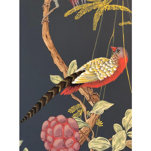 """Canvas """"Pheasants and Forest"""" Triptych Chinoiserie Painting by Allison Cosmos For Sale - Image 7 of 7"""