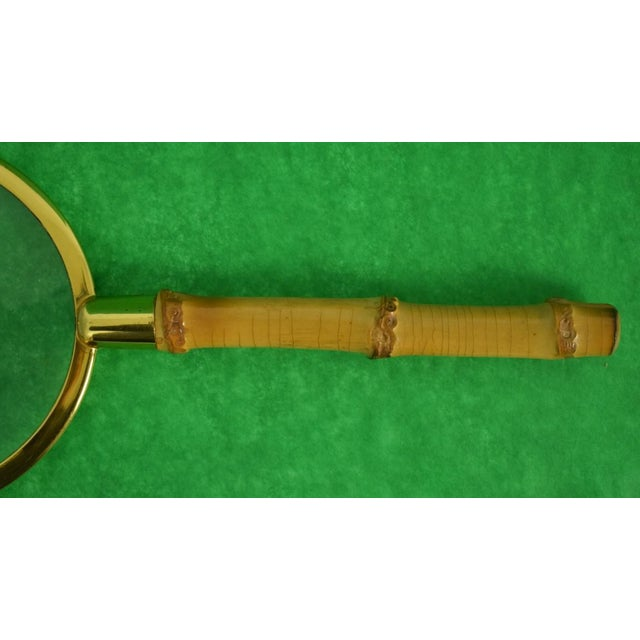 Boho Chic Vintage Bamboo Magnifying Glass For Sale - Image 3 of 4
