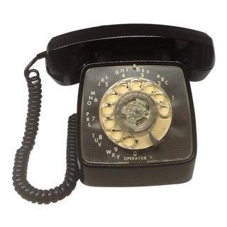 1970s Vintage Telephone Black G T E Automatic Electric Untested Rotary Dial Phone . Dial Does Not Work. For Sale