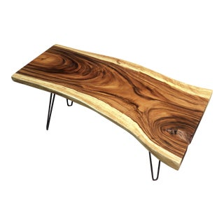 Custom Live Edge Cocktail Table With Hairpin Legs For Sale