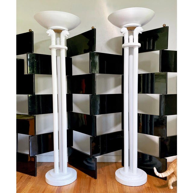 White Neoclassical Triple Lion Head Torchiere Floor Lamps -A Pair For Sale - Image 8 of 9